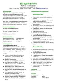 trainee administrator cv sample