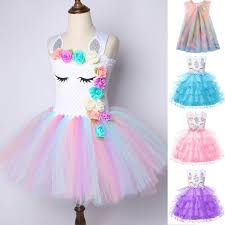 <b>Flower Girls Unicorn Tutu</b> Dress Pastel Rainbow Princess Girls ...