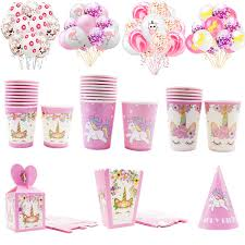 Cute Pink Balloons Unicorn Candle <b>Disposable</b> Tableware Paper ...