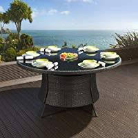 <b>Massive</b> Luxury Garden/Outdoor Round <b>Dining Table</b> Black Rattan ...