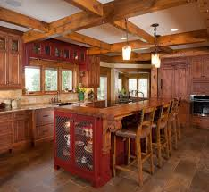 rustic kitchen island: rustic kitchen decoration with bar kitchen chair including rectangular maroon wood kitchen island with seating