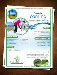 professional modern flyer designs for a business in united states flyer design design 7016179 submitted to riverside lawn care snow removal flyer design