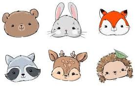 Woodland Set Animals, Hand Drawn <b>Cute Rabbit</b>, <b>Fox</b>, <b>Bear</b> ...