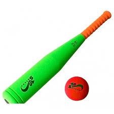 <b>Бита бейсбольная</b>, 45 см, SafSof, <b>оранжевая</b> ручка, красный мяч ...