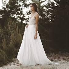 <b>LORIE Beach Wedding Dresses</b> V Neck Lace Top Chiffon Skirt A ...