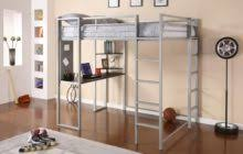 gallery of brown walnut wood low loft bed with wheeled desk in endearing loft beds with desks underneath silver wrought iron bedroom endearing rod iron