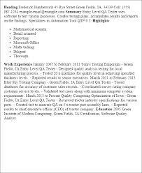 sample resume for qa  tomorrowworld coentry level qa tester resume templates entry level qa tester   sample resume