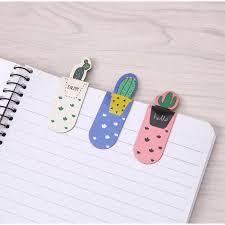 STBL1 3Pcs /Set Fresh <b>Cute Cactus Magnetic Bookmarks</b> Stationery ...