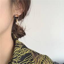 <b>Korean</b> niche <b>retro</b> twilight personality simple ring stitching <b>earrings</b> ...