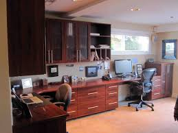 contemporary office furniture and made from dark mahogany wood ombination with floating dark brown wooden cabinet brick office furniture