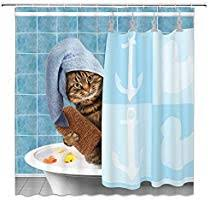 Bathing Cat Decor Blue Shower Curtain Fun Animal ... - Amazon.com