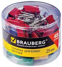 Купить <b>BRAUBERG Зажимы</b> для бумаг цветные 221128 25 мм (48 ...
