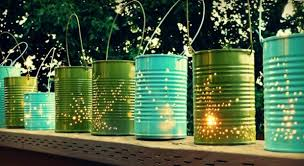 perforated can lanterns backyard party lighting