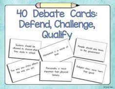 ela classroom essay writing and classroom on pinterest  english debate cards defend challenge qualify