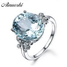 2018 <b>Ainuoshi</b> Luxury 6ct Big <b>Oval</b> Topaz Ring 925 Sterling Silver ...