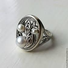 Кубачи! <b>Серебряное кольцо</b> 925 пробы Жемчужное кружево ...