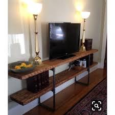 150CM Rustic <b>Natural</b> Solid Hard Wood <b>Retro Industrial</b> Style TV ...