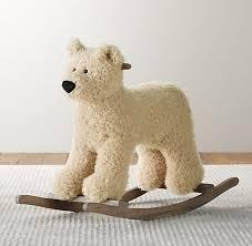 shaggy plush polar bear rocker nursery accessories restoration hardware baby child baby nursery cool bee animal rocking horse