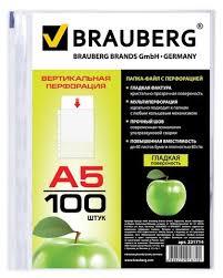 <b>BRAUBERG</b> Папка-<b>файл</b> перфорированная <b>Яблоко</b>, <b>А5</b>, 100 шт ...