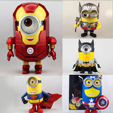despicable me minions captain america iron man thor batman superman action figure toys cosplay collection batman superman iron man