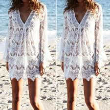 Women Bikini <b>Swimwear White</b> Lace Cover Up Beach Dress ...