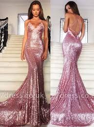 Gorgeous Sequins V-Neck <b>Prom Dress</b> UKes UK Mermaid <b>Spaghetti</b> ...