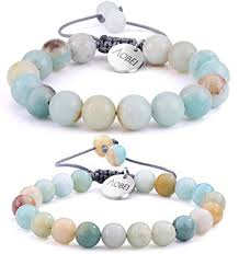 <b>2PCS</b> Gemstone <b>Beaded</b> Couple Bracelet 8MM/10MM <b>Round Bead</b> ...