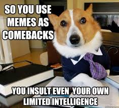so you use memes as comebacks you insult even your own limited ... via Relatably.com
