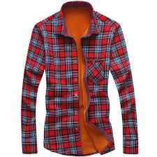 2019 <b>Loldeal</b> Men'S Winter Long Sleeve <b>Plaid Flannel</b> Fur Lined ...