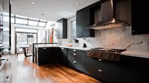 kitchen black range hood modern