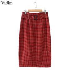 Vadim <b>women vintage</b> plaid midi skirt <b>sashes buttons</b> side zipper ...