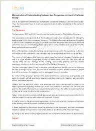 memorandum of understanding for particular facility memorandum of understanding template on use of a particular facility
