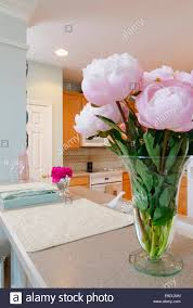 kitchen counter sink flowers stock photo