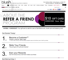 an epic list of referral programs updated referralcandy cosmetics subscription box blush s referral program gives 10 credit to both friend and advocate