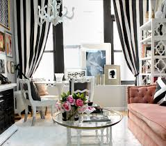 living room dazzling big glass window design with elegant stirped curtain decor ideas and amusing chic office ideas