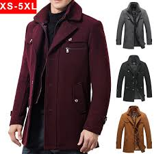 Trench Coat for Men Wool Coat Autumn and <b>Winter Cotton</b>-padded ...