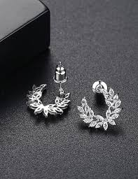 <b>Fashion Silver</b> Color <b>Full Diamond</b> Decorated Pure Color Earrings ...