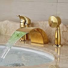 LED Widespread <b>Golden Brass LED</b> Waterfall Bathroom Tub Faucet ...