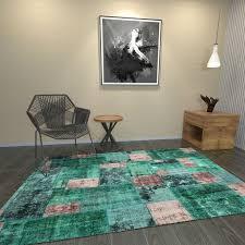 classic plushy area rug vintage green