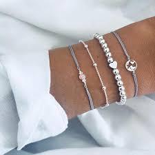 <b>4 Pcs</b>/<b>Set Map Heart</b> Bead <b>Gem</b> Chain Silver Bracelet Set Women ...