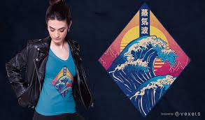 <b>Vaporwave Japanese Wave</b> T-shirt Design - Vector Download