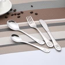 <b>4pcs</b>/<b>set Baby Teaspoon Spoon</b> Feeding Fork Knife Utensils Set ...