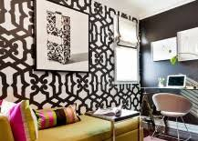 add some snazzy color and pattern to your black and white home office black and white home office