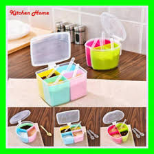 kitchen containers for sale plastic colorful kitchen sauce box salt jar spice case seasoning jar peper storage sauce container with lid and spoon   boxes