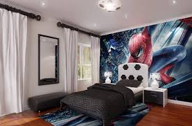 charming boys bedroom furniture with spiderman wall paper along black bed cover and white table lamp black bed with white furniture