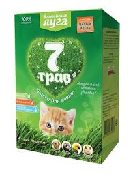 """<b>Альпийские луга</b> травка """"<b>7</b> трав"""" для кошек (лоток), набор для ..."""