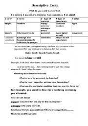english teaching worksheets descriptive essays english worksheets descriptive essay information