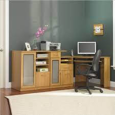 bush furniture vantage corner home office computer desk and cabinet set in light dragonwood finish bush saratoga computer desk