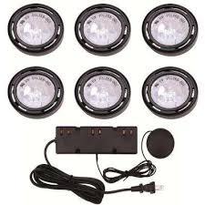 6Light Xenon Black Under Cabinet Puck Light Kit