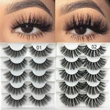 <b>5 Pairs 3D Faux</b> Mink Hair <b>Soft</b> False Eyelashes Fluffy Wispy Thick ...
